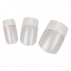 Faux ongles Integral Beauty French blanc fil or - x24 - avec colle