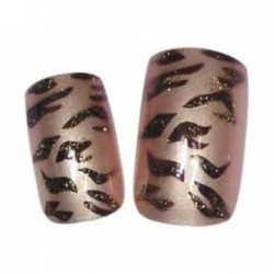 Faux ongles Integral Beauty Tigre Brun - x24 - avec colle