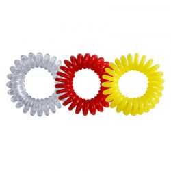 Lot - 3 élastiques Jacques Saban Hair Ring jaune-rouge-transparent