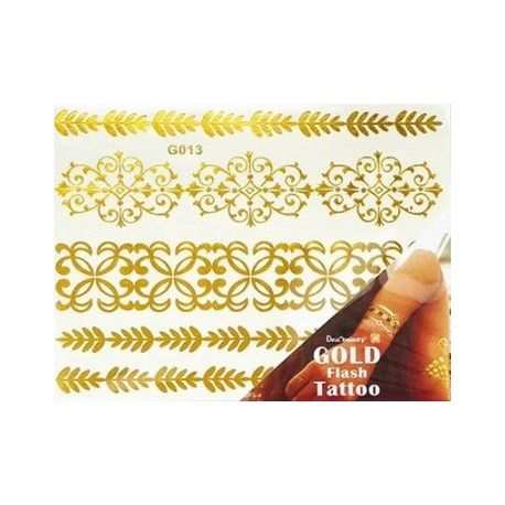 BODY-ART Tatoo metalic feuille decor OR+N