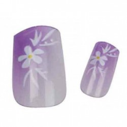 Faux ongles Fleurs Strass - x24 - avec colle